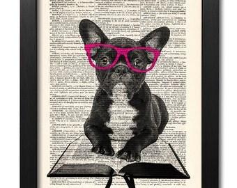Bulldog print, Funny Frenchie glasses, Dictionary art print, Geekery art print, Animal art poster, Home Wall Decor, Gift poster [ART 014]