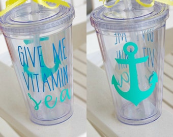 Vitamin Sea Tumbler, Beach Tumbler, Southern Tumbler, Bridesmaid Gift, Gift For Her, Christmas Gift, Teacher Gift, Vinyl Tumbler, Beach Cup