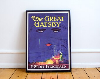 The Great Gatsby Poster Book Cover High Quality F. Scott Fitzgerald