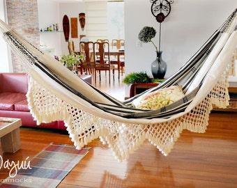 Black and white, handmade hammock, cotton hammock , macrame, traditional hammock, double hammock, indoor hammock, contemporary hammock