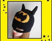 Batman Crochet Beanie, Batman Hat, Batman Mask, Women, Girls, Boys, Kids, Child, Baby,Doll, Halloween Fancy Dress, Gift, Winter Accessory