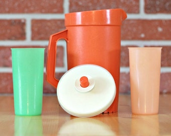 Clearance Tupperware small orange pitcher with 2 glasse set, Pastel Tupperware glass, plastic glass, juice pitcher, 70 decor, Christmas gift