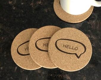 Cork Coasters - Set of 4 (HELLO Style)