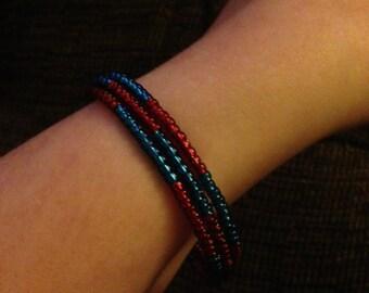 Blue and Red wrap around bracelet