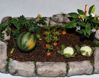 Miniature Garden, Dollhouse garden, Miniature Vegetable,to order! ,miniature plant, miniature flowers, scale one inch, scale of 1:12