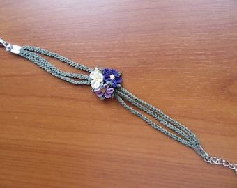 Silk Oya bracelet, Turkish Oya bracelet, needle lace flower wristband