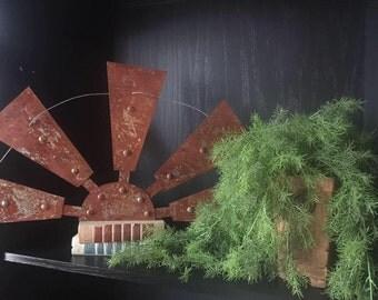 "30"" Rusted Half Windmill Metal Art Home Decor Sign"