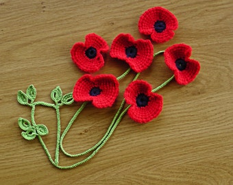 Red flowers applications-Crochet red poppy application-Red poppy applique