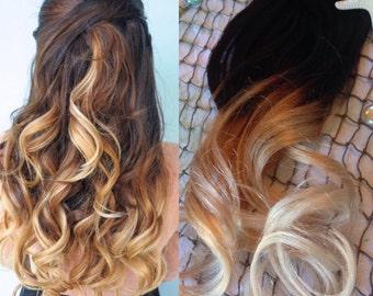 Ombre Hair Extensions, Balayage Hair Extensions, Wedding Hair, Clip in, Dark Brown Hair, Blonde Hair, Thick Hair, Mermaid Hair, Human Hair