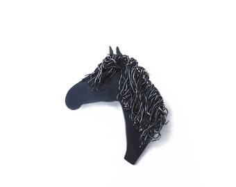 Silver black horse brooch pin, Black Horse Jewellery, Black Horse Jewelry, Horse Gift, Horse Present, Irish Draught Horse, Horse Jewellery