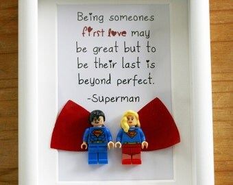 Superman and superwoman Lego Picture frame custom gift romantic quote present