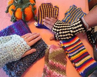 Hand Crochet Fingerless Gloves sized for Adults