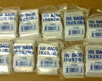 1000 2x2 Resealable Clear 2mil Poly Plastic Ziplock Bags