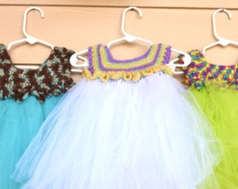 Personalized tutu dress with crochet top
