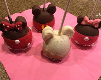 Homemade 5pcs min. Fresh Delicious  Mickey & Minnie Mouse Granny Smith Caramel Apples Party Favors