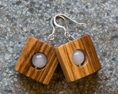 Zebrawood and Quartz Earrings