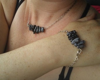 Snowflake obsidian necklace and bracelet set