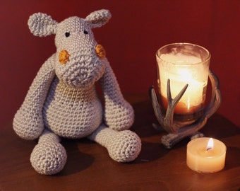 Hand crochet stuffed hippo