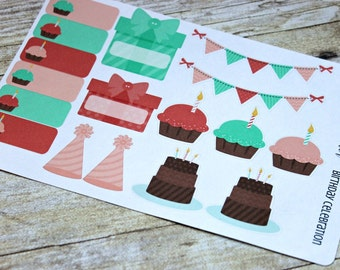 Birthday Planner Stickers -Planner Stickers -Reminder Stickers -Birthday Cake Stickers -Erin Condren Life Planner -Happy Planner -Birthday