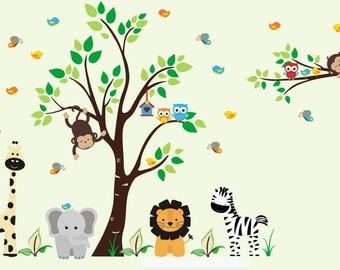 """Nursery Wall Decals - Safari Wall Decals - Animals Wall Stickers - Jungle Themed Decals - Baby Room Wall Decor - Wall Decor - 84"""" x 121"""""""