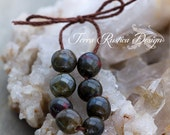 Earthy greens and reds porcelain bead set-Ronnie's beads