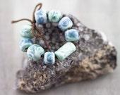 Blue and green flourish porcelain bead set-Ronnie's beads