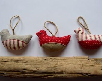 Handmade Christmas Robin hanging decorations