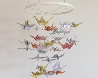 Origami crane, baby mobile