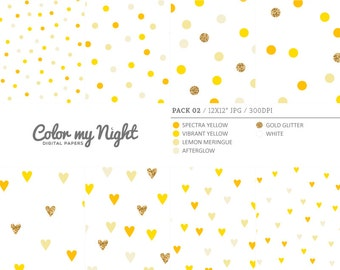 Digital Paper Yellow 'Pack02' Gold Glitter & Yellow Round and Heart Confetti Backgrounds for Scrapbooking, Invitations, Crafts...