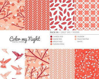 Digital Paper Red 'Pack04' Blossom Flowers, Hummingbirds, Leaves... Scrapbook Backgrounds for Scrapbooking, Invites, Crafts...