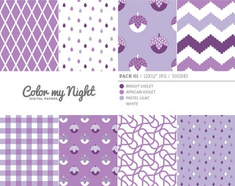 80% OFF SALE Digital Paper Violet 'Pack01' Chevron, Gingham, Drops, Fruits, Crosshatch & Abstract Backgrounds for Scrapbook, DIY Projects...