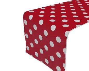 Zen Creative Designs Premium Cotton Table Top Runner Polka Dot White Red