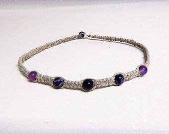 Natural Hemp Necklace w/ Purple Agate