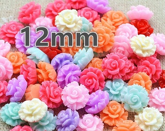 Flower Flatbacks, Resin Flowers, Plastic Flowers, Flower Decoden, Flower Kawaii, 12mm Flowers, Flower Cabochons, Cabochons, Mixed Flowers