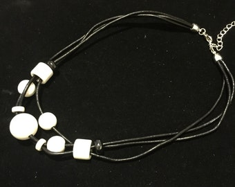 Necklace, black and white, leather and ceramics beads for her