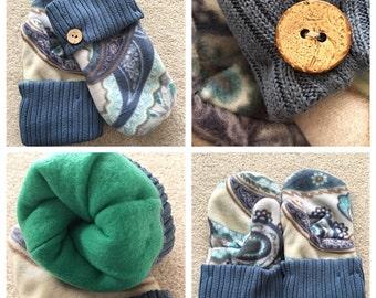 Handmade paisley mittens