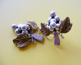 Sterling Silver Grapes & Leaves .. Vintage Re-Made Two Tone Pierced Earrings , Craft , Re-invent ,