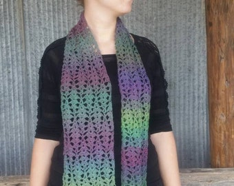 Lacy Crocheted Scarf - Purples & Greens