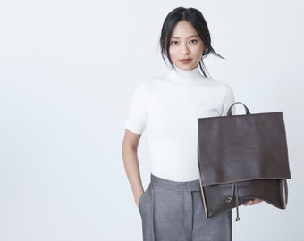 Large Leather Backpack in Moca leather