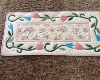 Quilted  and Hand Pieced Appliqued Spring Table Runner