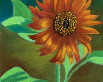 Orange Sunflower Original Art Floral Pastel Painting