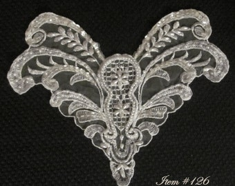Venice Lace Beaded Bodice Applique 126   Free shipping
