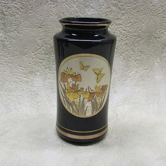 Vintage Art Of Chokin Vase With Gold And Silver Trim