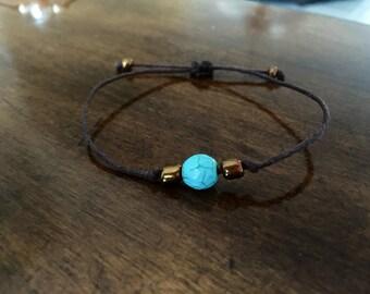Aqua and copper beaded bracelet