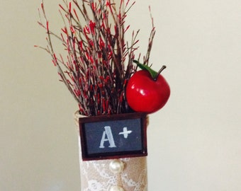 Back to School Teacher Apple A+ Flower Desk Gift Display