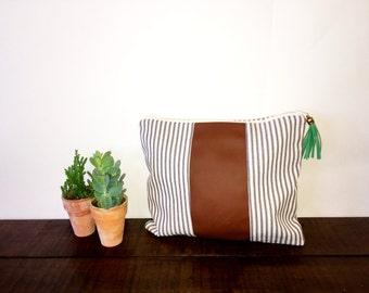 Mid-Size Stripe Clutch