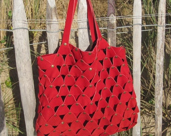 Nubuck, red leather bag