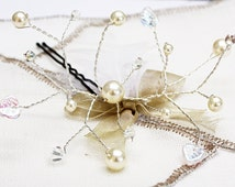 Jewel of head beads, pic chignon wedding spider beads white swarovski and 'crystal', Hairpin