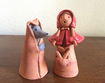 """Rustic figurines of"""" Little Red Riding hood and the Big bad wolf! """""""