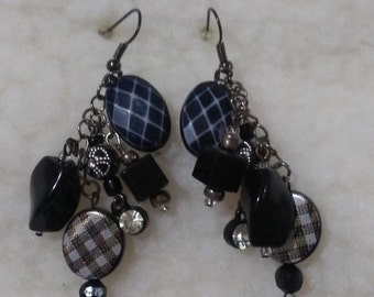 Earrings, Black and Silver